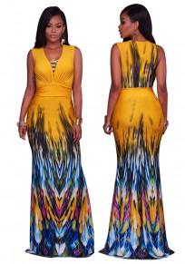 Yellow Geometric Print Deep V-neck Sleeveless Slim Vintage Maxi Dress