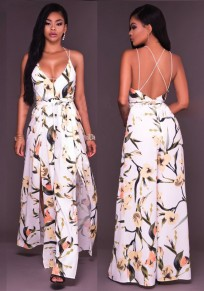 White Flowers Print Cross Back Sashes Backless Spaghetti Strap Bohemian Maxi Dress