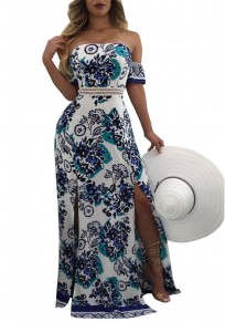Blue Flowers Print Bandeau Off Shoulder Double Slit Bohemian Maxi Dress
