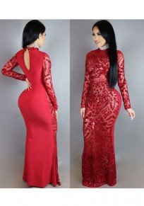 Red Geometric Sequin Cut Out Floor Length Prom Evening Party Maxi Dress