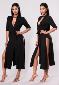 Black Sashes Cut Out Side Slit Half Sleeve Elegant Midi Dress