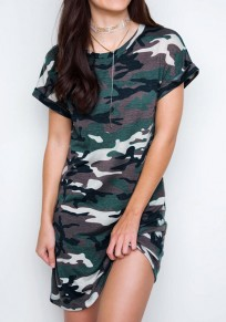 Multicolor Camouflage Print Round Neck Casual Mini Dress