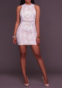 White Flowers Lace Zipper Cut Out Sleeveless Bodycon Elegant Mini Dress