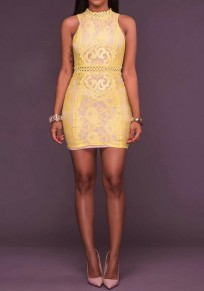 Yellow Flowers Lace Zipper Cut Out Sleeveless Bodycon Elegant Mini Dress