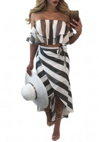 Dark Grey Striped Bandeau Sashes Cascading Ruffle Off Shoulder Maxi Dress