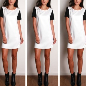 White-Black Patchwork Round Neck Short Sleeve Casual Mini Dress