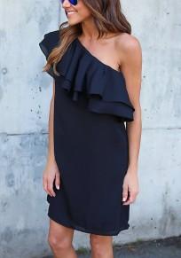 Navy Blue Ruffle Asymmetric Shoulder Short Sleeve Fashion Mini Dress