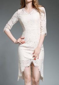 Apricot Patchwork Lace Irregular V-neck Elbow Sleeve Elegant Midi Dress
