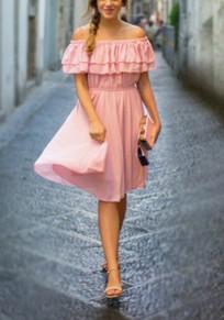 Pink Double-deck Ruffle Boat Neck Short Sleeve Midi Dress