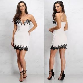 White Lace Spaghetti Strap Bodycon Backless Cocktail Party V-neck Mini Dress