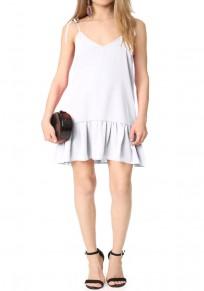 White Backless Spaghetti Strap Ruffle A-Line V-neck Mini Dress