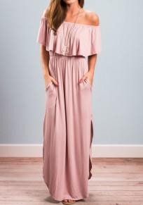 Pink Pockets Off Shoulder Half Sleeve Double Slit Maxi Dress