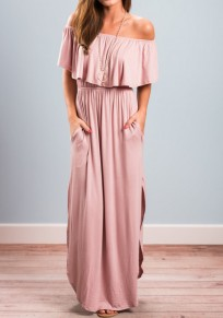 Pink Pockets Pleated Ruffle Off Shoulder Half Sleeve Double Slit Elegant Wedding Prom Maxi Dress