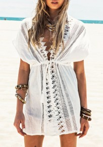 White Patchwork Lace V-neck Drawstring Short Sleeve Mini Dress