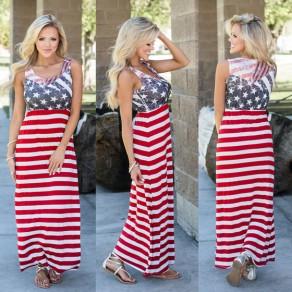 Robe maxi rayée drapée sans dossier col rond sans manches drapeau américain rouge-blanc