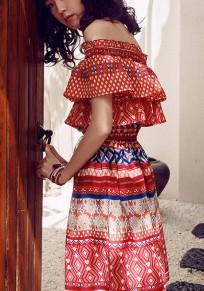 Multicolor Plaid Print Off Shoulder Ruffle Tribal Mexican Boho Mini Dress