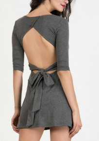 Grey Backless Bowknot Half Sleeve A-line Casual Mini Dress