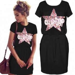 Black Monogram Sequin Drawstring Short Sleeve Casual Mini Dress