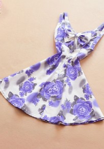 Purple-White Flowers Print Bow Casual Mini Dress