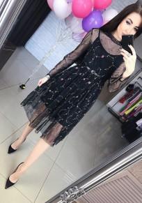 Black Patchwork Grenadine Floral Embroidery Belt Vintage Midi Dress