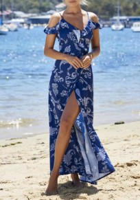 Navy?Blue Floral Condole Belt V-neck Ruffle Tie Back Backless Fashion Maxi Dress