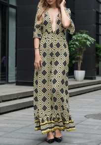 Yellow Floral Plunging Neckline Ruffle Zipper Draped Fashion Maxi Dress