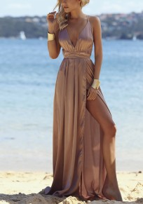 Brown Tie Back Cross Back Condole Belt Maxi Dress