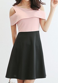 Pink-Black Patchwork Draped Cut Out Round Neck Fashion Mini Dress