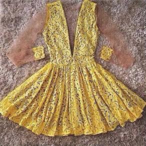 Yellow Patchwork Lace Draped Club Elegant Fashion Mini Dress