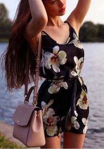 Black Floral Sashes Condole Belt V-neck Mini Dress
