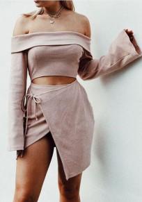 Pink Irregular Crop Boat Neck Slim Mini Dress
