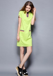 Green Pattern V-neck Short Sleeve Casual Midi Dress