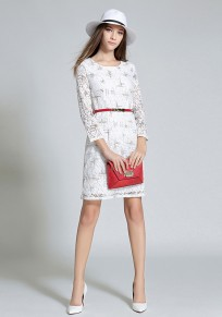 White Belt Round Neck Three Quarter Length Sleeve Casual Midi Dress