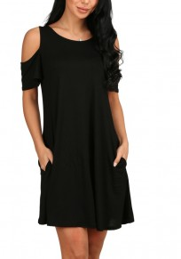 Black Cut Out Draped A-line Short Sleeve Cotton Mini Dress