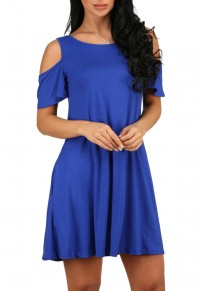 Blue Cut Out Draped A-line Short Sleeve Cotton Mini Dress