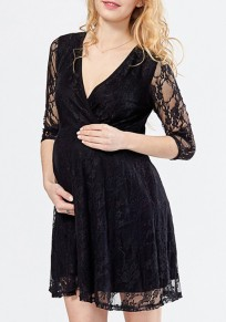 Black Patchwork Lace Draped 3/4 Sleeve Fashion Maternity Mini Dress