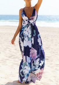 Robe longue imprimé à fleurs drapé dos nu décolleté plongeant boho plage de sable bleu foncé