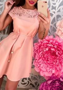 Pink Patchwork Lace Cut Out Buttons Elegant Mini Dress