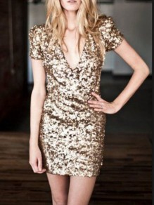 Golden Patchwork Gold Sequin Glitter Sparkly Deep V-neck Birthday Party Club Mini Dress