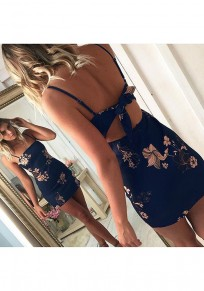 Purplish Blue Flowers Tie Back Off Shoulder Backless Casual Mini Dress