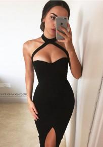 Black Belt Collarless Sleeveless Fashion Midi Dress