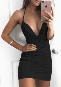 Black Backless Tie Back Halter Neck Bodycon Club Mini Dress