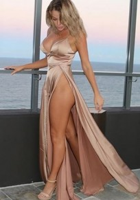 Rose Golden Irregular Zipper High-Slit Deep V Spaghetti Strap Party Maxi Dress