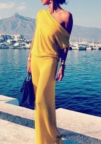Yellow Round Neck Short Sleeve Maxi Dress
