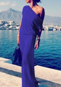 Robe maxi col rond manches courtes bleu violacé