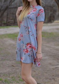 Light Blue Floral Cut Out Draped Short Sleeve Casual Mini Dress