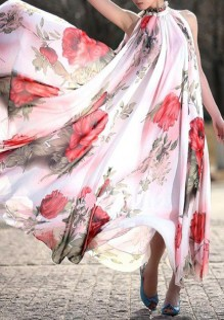 White Floral Print Flowy Pleated Sleeveless Boho Maxi Dress