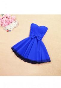 Blue Patchwork Lace Bow Bandeau Grenadine Zipper Mini Dress