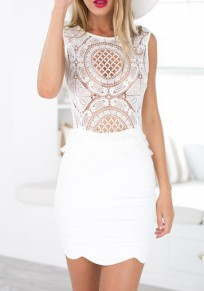 White Patchwork Lace Cut Out Zipper Sleeveless Mini Dress