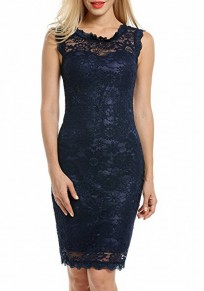 Dark Blue Lace Double-deck Wavy Edge Backless Midi Dress